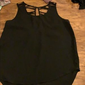 Tops - Black tank top blouse with open back